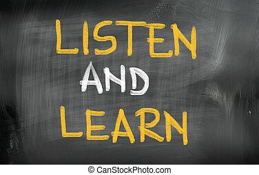 luisteren, concept, leren