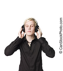 luisteren, headphones, muziek, man