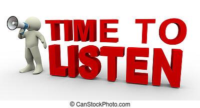 luisteren, tijd, -, man, 3d