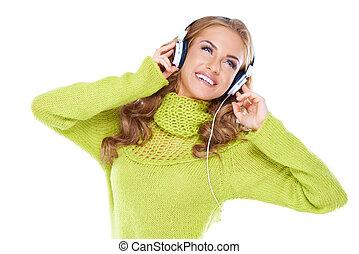 luisteren, vrouw, muziek, headphones
