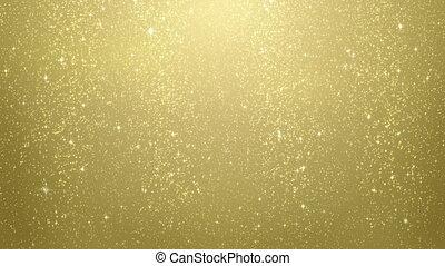 lus, goud, partikels, het vallen, schitteren