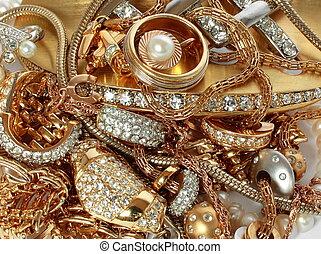 luxe, accessoires, gouden