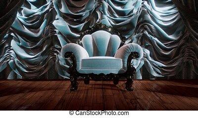 luxueus, stoel, gordijn, toneel, theater
