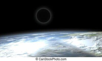 maan, eclips, space., aanzicht