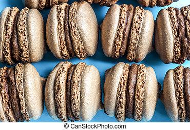 macaron, blauwe , amandel, bovenzijde, koekjes, achtergrond, macaroon, taart, of, aanzicht
