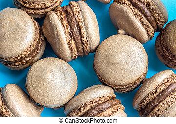 macaron, blauwe bovenkant, chocolade, achtergrond, macaroon, taart, of, aanzicht