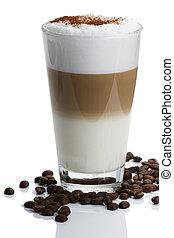 macchiato, koffie, latte, cacao, bonen, poeder, achtergrond, witte