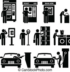 machine, gebruik, man, publiek, auto