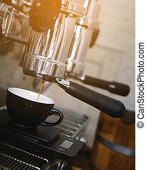 machine, gietende koffie, espresso, cup.