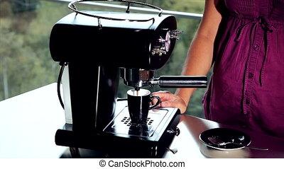 machine, het maken van koffie, expresso