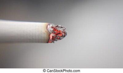 macro, grit, brandende sigaret