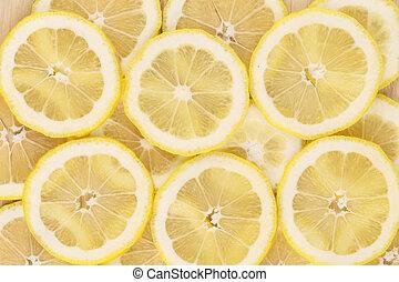 macro., slices., citroen, op einde