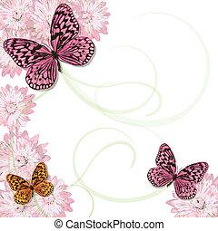 madeliefjes, vlinder, uitnodiging