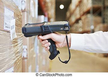 magazijn, arbeider, scanner, hand