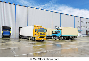 magazijn, lading, -, truck transport
