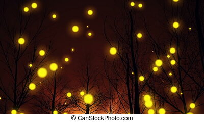 """magic, lights"", silhouette, boompje, fantasie, bos"