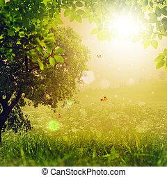 magisch, abstract, achtergronden, forest., milieu, ontwerp, jouw