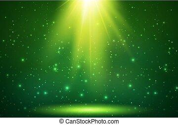 magisch, licht, bovenzijde, vector, groene achtergrond
