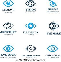 magisch, symbols., logos., vector, zicht uitzicht, mysterieus, oog, kentekens