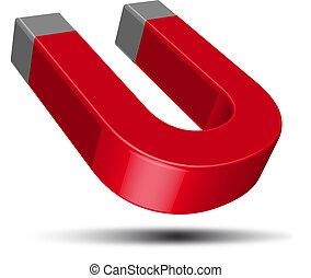 magneet, rood, paardenhoef