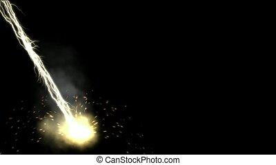 magnetisch veld, &, stralen, lightning