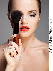 make-up, face., woman., mooi