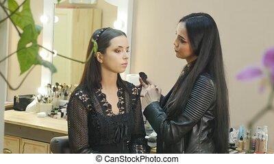 make-up, kunstenaar, mensen, echte, werken, haar, friend.