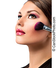 make-up, makeup., blusher, applying., rouge.