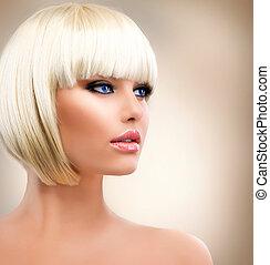 make-up, meisje, portrait., hair., modieus, hairstyle., blonde , blonde