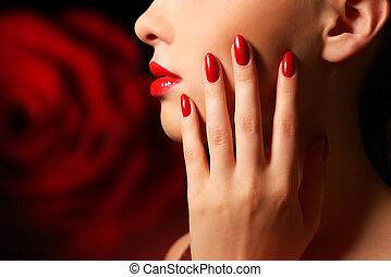 makeup, manicure
