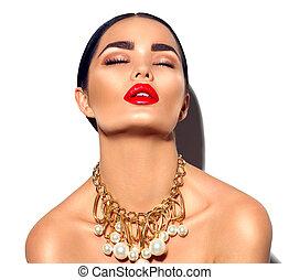makeup, perfect, sexy, meisje, mode, brunette, beauty, gouden, portrait., modieus, model, vrouw, accessoires, jonge
