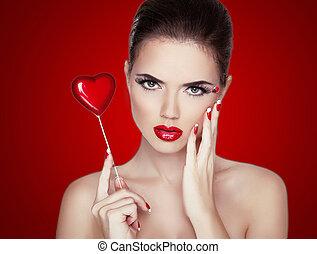 makeup, professioneel, boven., perfect, brunette, mode, mooi, vrijstaand, model, portrait., vrouw, rood, lipstick., beauty, skin., maken, girl., achtergrond.