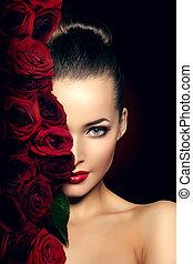 makeup, roos, mooi, model, bloem, vrouw, knapheid salon, haar