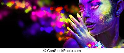 makeup, verticaal, licht, neon, mooie vrouw, fluorescentie, beauty, model