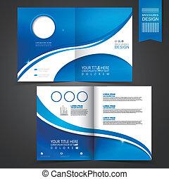 mal, blauwe , informatieboekje , ontwerp, reclame