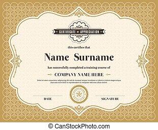 mal, certificaat, ouderwetse , frame, retro, achtergrond