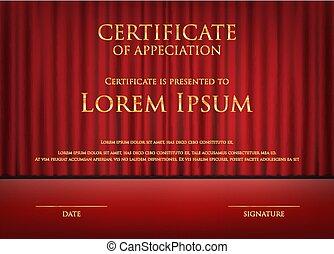 mal, certificaat, toewijzen, thema, kaart, achtergrond, gordijn, rood