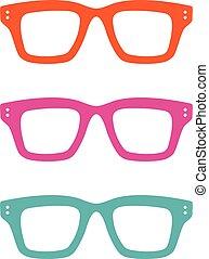 mal, geek, eps, design., vector, kleurrijke, illustratie, logo, 10., bril