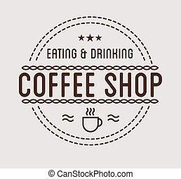 mal, ouderwetse , coffeeshop, logo.