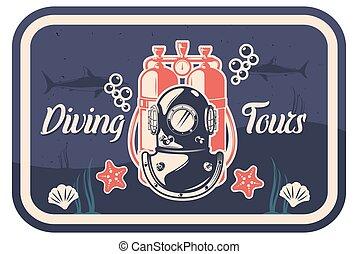 mal, vector, duiken, illustratie, poster, typografie, ouderwetse , reizen