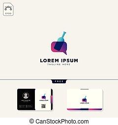 mal, zakelijk, ontwerp, fles, logo, boodschap, kaart