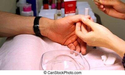 malen, vingers, ook, manicure, huid, technicus, man