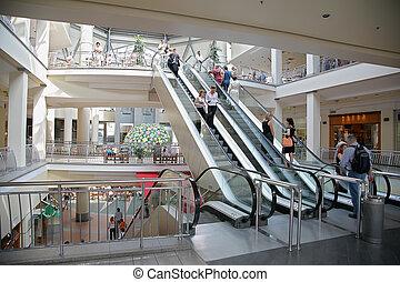 mall, roltrap