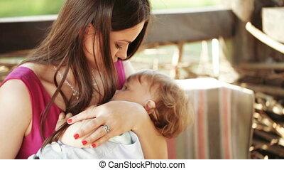 mama, baby, wiegen, natuur