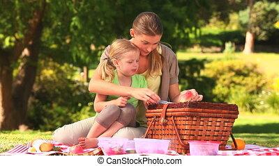 mamma, eten, dochter, watermeloen
