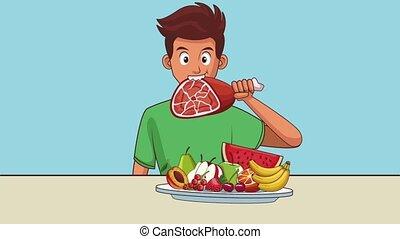 man, animatie, hd, voedingsmiddelen