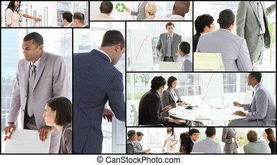 man, conferentie, het voorstellen
