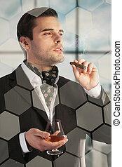 man, drinkt, cognac, sigaar rokend
