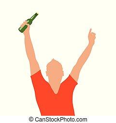 man, fles, illustratie, hand
