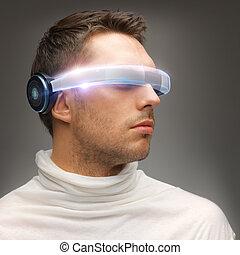 man, futuristisch, bril